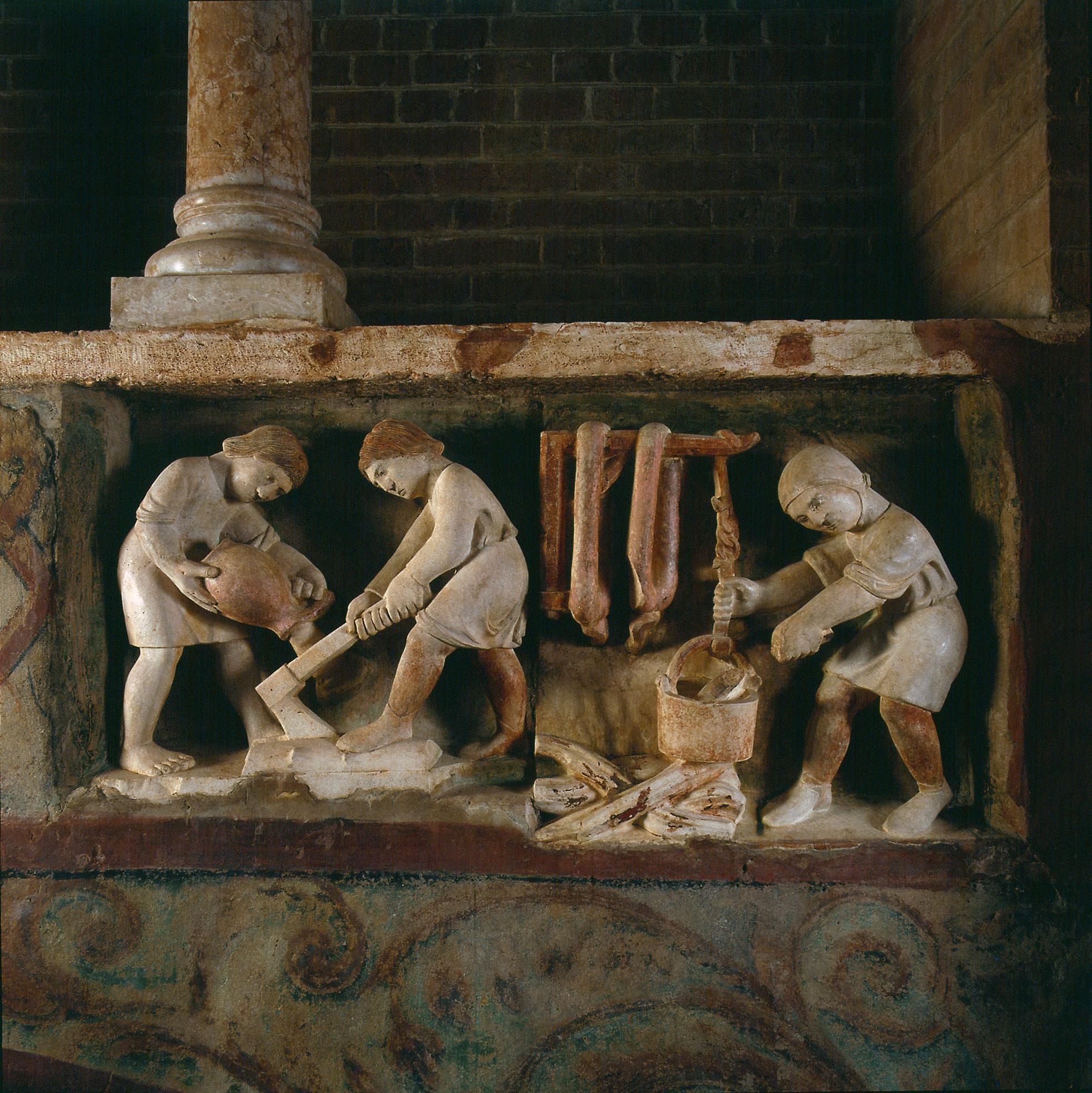 Rappresentazione di Antelami del segno dell'aquario nel Battistero di Parma.